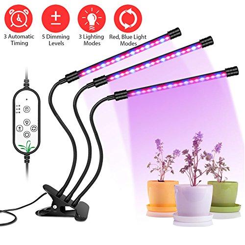 LIFU Led Pflanzenlampe Vollspektrum 27W 54 LEDs Grow Light mit 3 automatisch Timer (4H/8H/12H), dimmbar 5 Stufen, 12 Lichtmodi verstellbar Grow Lampe IP66 wasserdicht 360°Schwanenhals Dreiköpfe Pflanzenlicht für Innenpflanzen Blumen Gemüse usw.