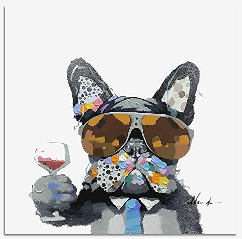 Bignut-Art 100% Handbemalt Tier Hund und Wein gerahmt Wall Art Malerei Wohnzimmer Schlafzimmer Home Decor Fertig Zum Aufhängen 61x 61cm Hund mit Brille