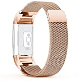 Fitbit-Charge-2-Strap-67-81-inch-Large-with-Unique-Magnet-Lock-PUGO-TOP-Milanese-Loop-Stainless-Steel-Bracelet-Strap-Band-for-Fitbit-Charge-2-Smart-Watch-No-Buckle-Needed-Champagne-Gold