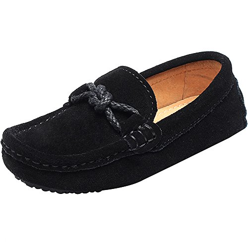 Shenn ragazzi scivolare su comfort tacco piatto pelle scamosciata vestito mocassini scarpe 8221k(nero,eu30)