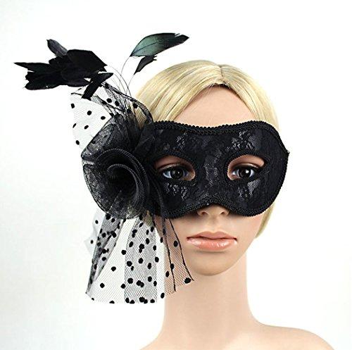aukmla Masquerade Maske Halloween venezianischen Stil Spitze Augenmaske Edler Ball Luxus Eyemask mit Blumen und Federn für sexy lady (Maskerade Auf Masken Stick)