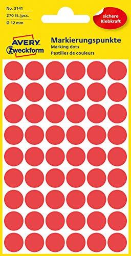 AVERY Zweckform 3141 selbstklebende Markierungspunkte (Ø 12 mm, 270 Klebepunkte auf 5 Bogen, runde Aufkleber für Kalender, Planer und zum Basteln, Papier, matt) rot