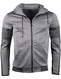 Sweatjacke - mit Kapuze - Taschen - grau
