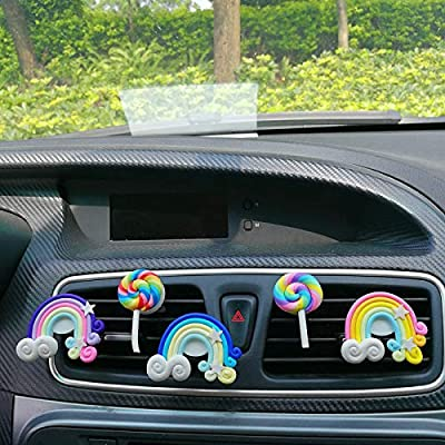 BOZNY Parfum de Voiture Ornements de Voiture   Air Conditionné Ventilation Clip de Parfum Rainbow Lollipop Désodorisant Parfum Creative Auto Interior Decor