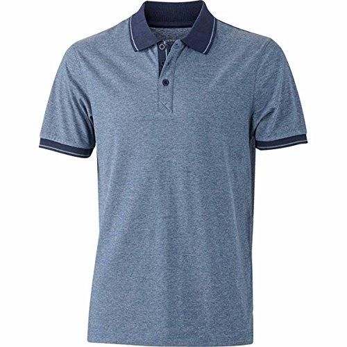 JAMES & NICHOLSON Herren Poloshirt, Einfarbig Blau