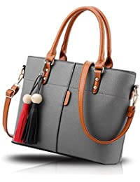 Fargo Flames PU Leather Women's Satchel Handbag (Grey_FGO-219-2)