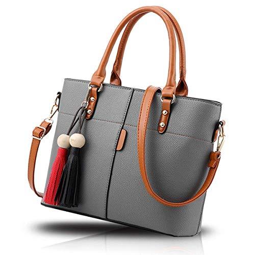 Fargo Flames PU Leather Women's Satchel Handbag (Grey_FGO-219-4)