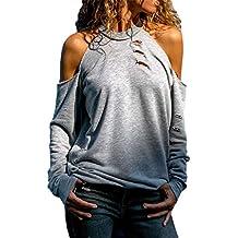 VECDY Mujer Blusa Moda Diseño Manga Larga Fuera del Hombro Camisa Casual De Color Sólido Blusa