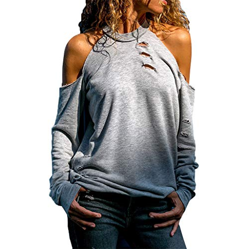 iHENGH Damen Top Bluse Lässig Mode T-Shirt Frühling Sommer Frauen Bequem Blusen Lange Hülse Weg vom Schulter Normallack beiläufiges Hemd Einfache Oberteile(Grau, M)