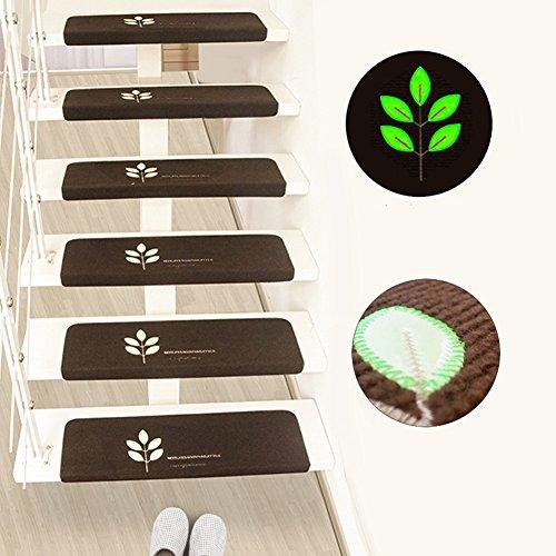 LJXiioo Peldaños de escaleras Antideslizantes Alfombras Esteras para escaleras Revestimiento Interior Adhesivo con Luces de Noche Decoración para el hogar,10pcs,55 * 22 * 4.5cm