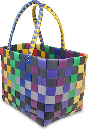 Einkaufstasche geflochten mit Henkeln - Tragetasche extra robust Classic / Rainbow