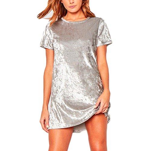 Bawar Damen Samtkleider Mini Cocktailkleid Kurzarm Abendkleid A-Linie T-Shirt Partykleid (XL, Silber) - A-linie Mini