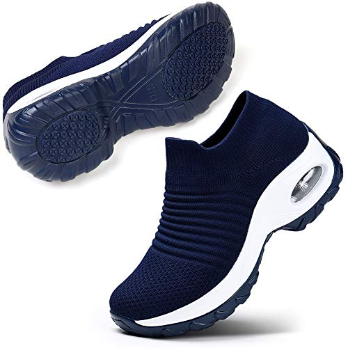 Damen Wanderschuhe Slip-on Lightweight Mesh Sneakers Atmungsaktiv Tennis Bequeme Plateauschuhe (Dunkelblau 39 EU)