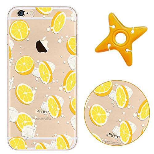 Crystal Chiaro Shell Skin per iPhone 6, MAOOY Colorato Carino Quadri Cassa Ultra Fine Fit Back Case per iPhone 6s, Cancella Anti Slip Morbida Jelly Rubber Protettivo Cassa del Respingente per 4.7 App Arancia