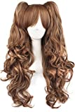 MapofBeauty Multi-color Lolita Long Curly Clip on Ponytails Cosplay Wig (Brown/ Khaki)
