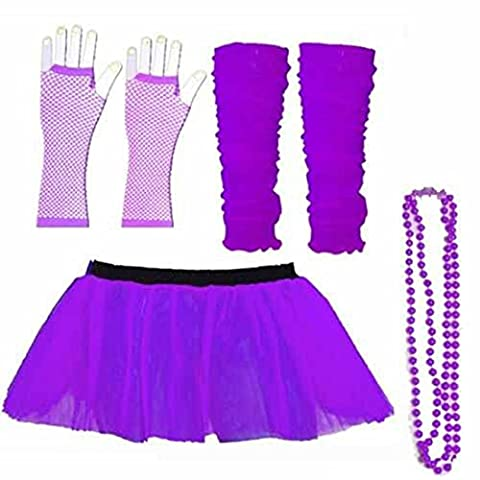 UV Neon Handschuhe + Stulpen Tutu, Perlen-Set Fancy Dress Party Kostüm Rock 1980s Tanzen (Damen: 38/40),