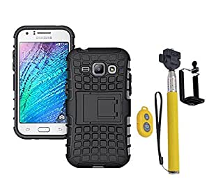 Hard Dual Tough Military Grade Defender Series Bumper back case with Flip Kick Stand for Samsung J1 + Wireless Bluetooth Remote Selfie Stick for all Smart phones by carla store.