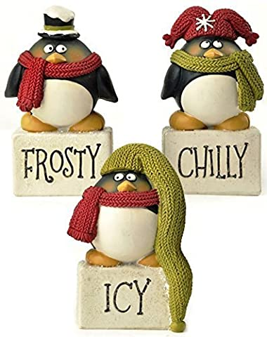 Blossom Bucket Frosty/Icy/Chilly Blocks with Penguins Christmas Decor (Set of 3), 3