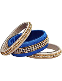Vani Blue - Grey Silk Thread Bangle Set For Women & Girls(Set Of 3)