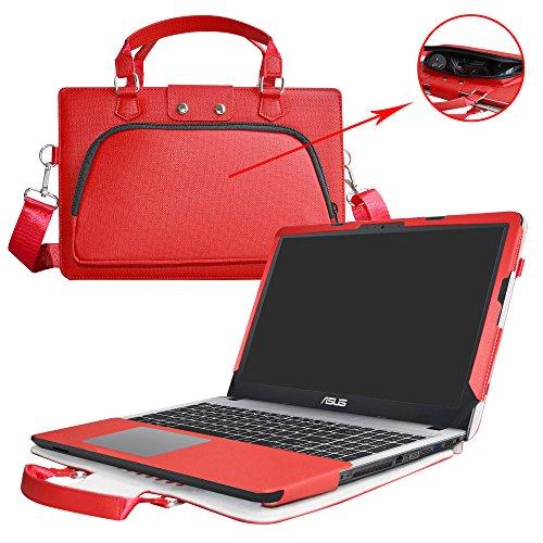 """Asus X540SA X540LA F540SA F540LA Hülle,2 in 1 Spezielles Design eine PU Leder Schutzhülle + portable Laptoptasche für 15.6"""" Asus VivoBook X540SA X540LA F540SA F540LA series Notebook,Rot"""