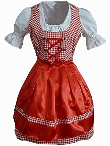 Di01rw Mini Dirndl, 3 teiliges Trachtenkleid in rot weiß, Kleid mit Bluse und Schürze, Rocklänge 53-56 cm, Gr. 40