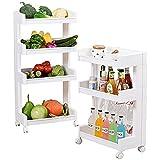 Krevia 4 Tiers Rolling Wheels Plastic Home Kitchen Organizer Utility Baskets Service Cart Storage Shelves, Medium (White)