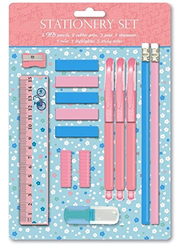 Vintage Stationery Set Girl Kids Children School Party Bag Filler Writing Flowers Bicycle Retro Schabby Chic Cute Gift Present Highlighter Sharpener Ruler Pencils Pen Sticky Note Grip