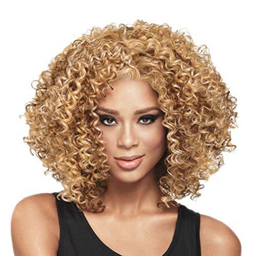 Junjie Mode Rose Haarnetz Volle Lockige Perücke Bob Wave Hair Schwarze Frauen Synthetische Perücken Gold Cosplay Halloween Spitzen Karneval
