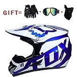 Yedina Motocross MX Motorcycle ATC Roller Helm D.O.T zertifizierte Geschenkhandschuhe Brille Maske dreiteilige optionale Größe (S, M, L, XL),S