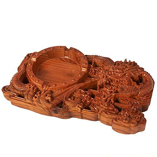 Zhcmy Decoraciones para el hogar Nogal Tallado de Madera Cenicero Oficina Cilindro de Humo de Madera Maciza Decoración Pan Cenicero del dragón