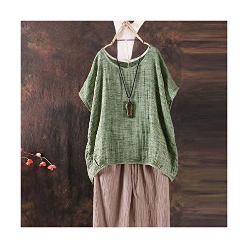 2018 Fashion Women Summer Short Sleeve Tops Asymmetrical Loose O Neck Solid T-Shirt Green L -