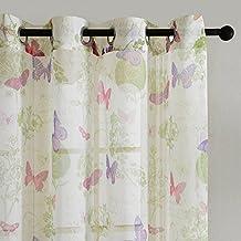 Top Finel cortina transparente de paneles para cocina sala de estar dormitorio de mariposa fantastica de tratamientos 140 cm anchura por 215 cm longitud, con ojales,solo panel,blanca