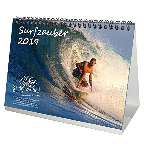 Surfzauber · DIN A5 · Premium Tischkalender/Kalender 2019 · Surfer · surfen · Wasser · Brandung · Brett · Welle · Hawaii · Australien · Strand · Urlaub · Meer · Edition Seelenzauber