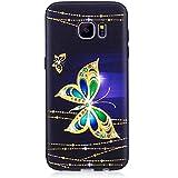 Coque Samsung Galaxy S7 Edge, Chreey [Motif en relief] Estampé Housse Etui TPU Souple Silicone Coque de Protection Ultra Mince Fond Noir Anti-rayures Bumper Case [papillon diamant]