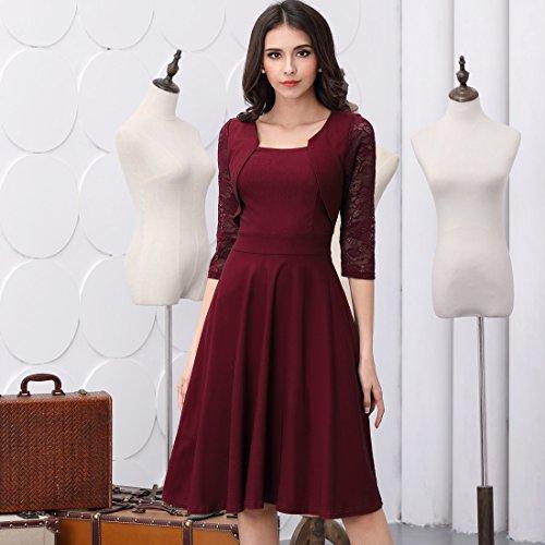 Miusol? Damen Abendkleid Elegant Cocktailkleid Vintage Kleider 3/4 Arm mit Spitzen Knielang Party Kleid Weinrot Gr.S - 5