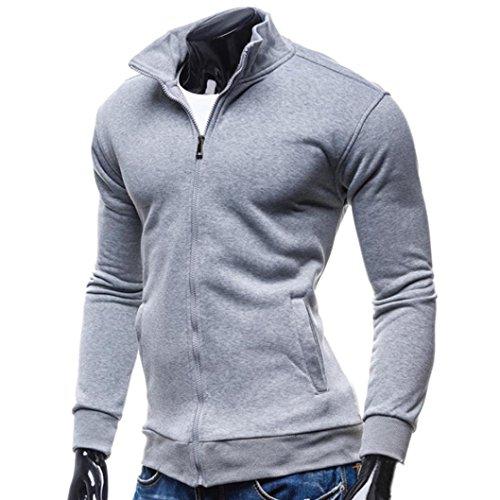 Rcool Männer Casual Baseball Bekleidung Jacke Mantel Slim Outwear Overcoat Grau