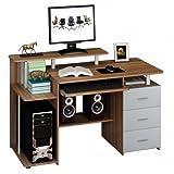 hjh OFFICE Computertisch Büro-Schreibtisch Stella mit Standcontainer, Tastaturauszug, Monitorpodest, viele Ablagefächer, robust gefertigt, einfacher Aufbau, PC-Workstation (nussbaum/grau)