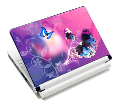 Luxburg® Design Aufkleber Schutzfolie Skin Sticker für Notebook Laptop 10 / 12 / 13 / 14 / 15 Zoll, Motiv: Schmetterlinge im rosa Licht