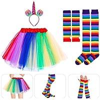 BESTOYARD Regenbogen Tutu Anzug Party Prinzessin Tanz Kleid Rüschen Tiered Fotografie Geschichteten Tutu Rock für Erwachsene