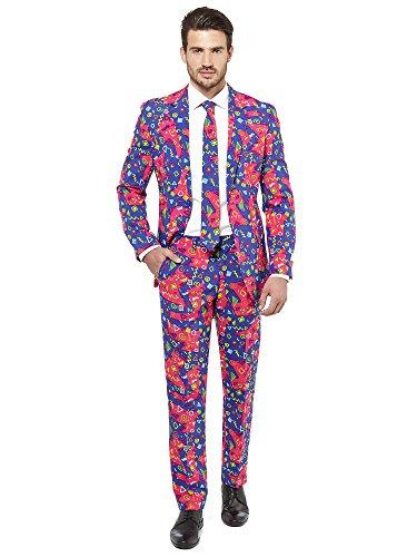 Tetris Lila Kostüm - Opposuits Festlicher Anzug für Herren bestehend aus Sakko, Hose und Krawatte - Party-Sonnenbrille gratis!