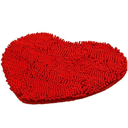 Herz Badteppich Teppich Soft Shag Küche Teppich Tür Way Füße Matte Anti-Rutsch Streifen saugfähig Fußmatte Badezimmer Dusche Teppiche Shaggy Teppich, rot, 40 * 50CM - Shag Teppich
