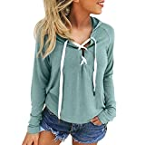 Xinan Damen Sweatshirt Kapuzenpullover Damen Locker Langarm Hoodie Jacke Bluse Top (L, Grau)
