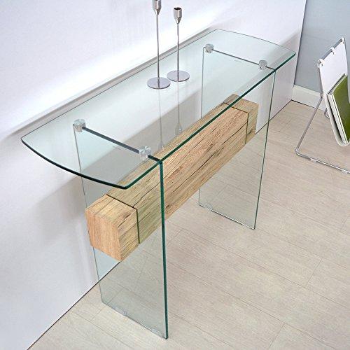 Cribel pegaso consolle vetro temperato rovere sonoma for Consolle ingresso vetro