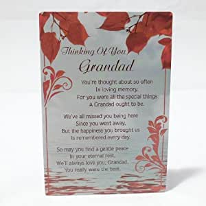 Thinking Of You Grandad - Grave Memorial Card