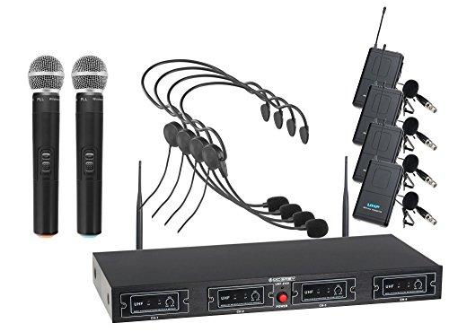 McGrey UHF-2V4H Quad Funkmikrofon Set (4-Kanal UHF-Empfänger, 2 dynamischen Handmikrofone, 4 kompakte Funk-Taschensender mit Gürtelclip, 4 Headsets, Reichweite 50 Meter, Betriebsdauer ca. 8 Stunden) -