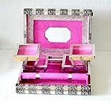 Grande stile indiano argento in rilievo metallo bloccaggio rosa portagioie–Bnib