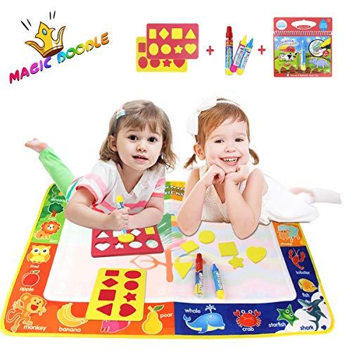 Joy-Fun Geschenke für 2-4 Jährige Mädchen Toy Aqua Zauber Doodle Matte Wasser Gekritzel Matte 75*50cm Kinder Spiele ab 2 Jahre Jungen Malen Wassermalbuch mit 3 Stiften Geburtstag Geschenke