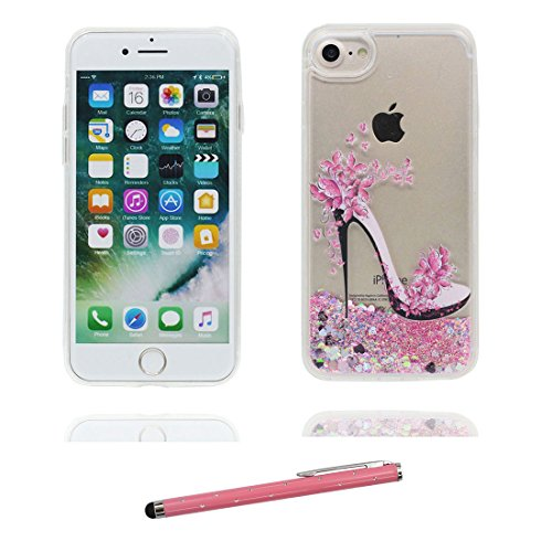 """iPhone 7 Plus Coque, Skin Hard Clear étui iPhone 7 Plus, Design Glitter Bling Sparkles Shinny Flowing Apple iPhone 7 Plus Case Cover 5.5"""", résistant aux chocs (Birds Flamant) & stylet # 2"""