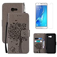 for Samsung Galaxy A3 2017 Kickstand Case and Screen Protector ,OYIME [Gray Cute Cat and Butterfly Tree] Design Leather Wallet Magnetic Holster with Card Holder Full Body Protective Flip Cover