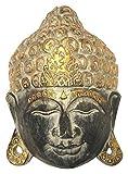 Wohnkult Buddha Wandmaske Deko Wandrelief aus Holz 25 cm x 20 cm Maske Handarbeit Zum Aufängen